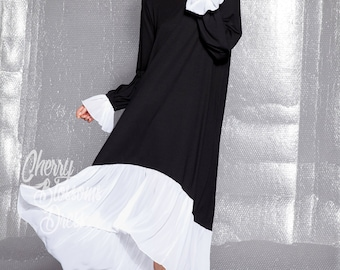 Black Maxi dress/ Maxi dress with long sleeves/ Black and white dress/ Plus size maxi dress/ Long sleeve dress/ Casual dress/ 022.170
