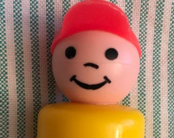 Vintage 1970's Fisher Price Little People Boy with Orange Cap and Yellow Plastic Body/ Little People FP/ Fisher Price Toy Set/ FP Boy