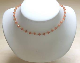 Orange Carnellian/Gold Gemstone Choker, UT Necklace, Graduation Gift, Dark Orange/Gold Vermeil Gemstone Necklace, Burnt Orange, UT