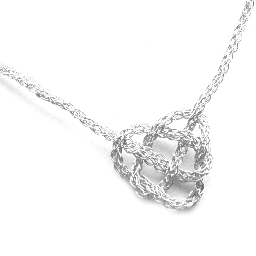 Silver Necklace CELTIC Heart Knot Crochet Wire Jewelry