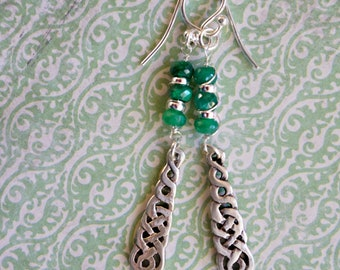 Real Emerald faceted beads and sterling silver Celtic Knot charm earrings