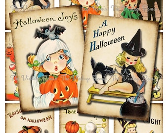 Digital Collage Sheet, Retro Halloween, Instant Download, Altered Art Printable, Vintage Style atc, aceo