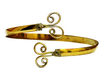Gold Armlet, Spiral Arm Band, Gypsy Armlet, Arm Bangle, Gold Arm Bracelet, Uppper Arm Bracelet, Gold Arm Cuff, Upper Arm Cuff, Gypsy Jewelry