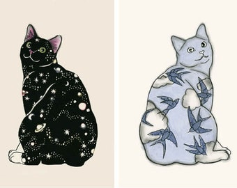 Sale set of two Cat Art Prints -  Galaxy Cat and Sky Kitten -  8.3 x11.7 print = A4 print