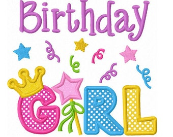 Instant Download Birthday Girl With Crown Applique Machine Embroidery Design NO:1384