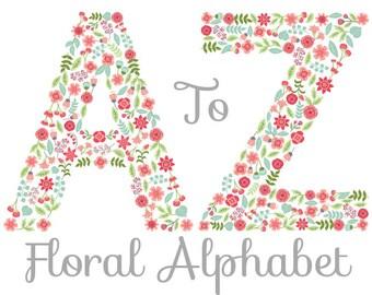 Floral Alphabet Clipart - Digital Vector Floral Alphabet, Letters Clipart, Vector Flowers Alphabet, Floral Alphabet Clip Art