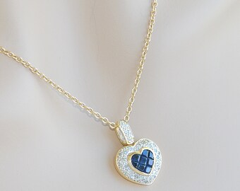18K gold * necklace / / diamond heart pendant + Belcher link chain * sapphires - gold 18 k (750/1000)