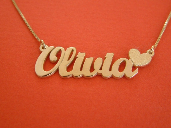 Olivia name necklace gold nameplate necklace heart charm olivia name necklace gold nameplate necklace heart charm necklace 14k gold name necklace olivia necklace with name locket necklace aloadofball Image collections