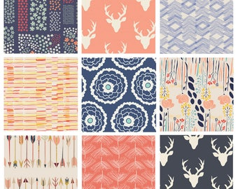 Coral and Navy Hello Bear Woodland Quilt Bundle | Modern Floral Quilt Bundle | Meadow and Morning Walk by Leah Duncan | Art Gallery Fabrics