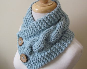 "Chunky Cable Neck Warmer Knit Thick Glacier Blue Scarf Wool Blend 6"" x 25"" - Coconut Shell Buttons Ready to Ship - Gift for Her"