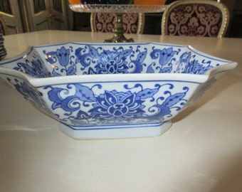 BLUE and WHITE OCTAGON Bowl