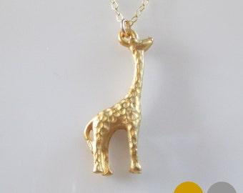 Giraffe Necklace- Sterling Silver Giraffe Necklace- Gold Giraffe Necklace- Giraffe Charm Necklace- NGS-AN1
