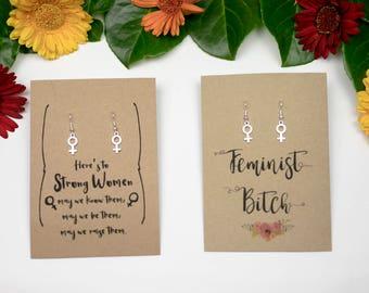 Feminist earrings venus symbol earrings silver plated earrings with the female symbol gift for a feminist strong female earrings