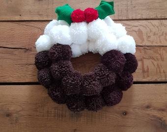 Christmas wreath, Xmas pudding wreath, xmas pompom wreath, xmas decoration, Festive decor, home decor, pompom wreath, figgy pudding wreath