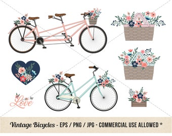 Vintage Bicycle Clipart - Bike Floral Clipart - Commercial Use - Detailed Retro Bicycles and Flowers - Picnic Basket, Love, Wedding