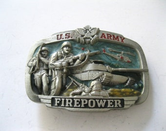 US Army Belt Buckle. Firepower. Military, Tanks, Helicopters, Guns, Soldiers, free shipping -FL