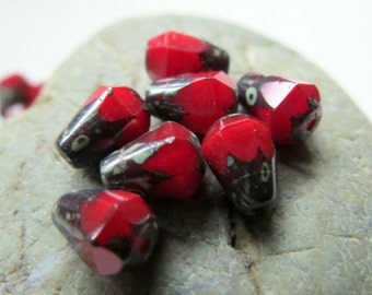 NEW SCARLET DROPS .  Czech Picasso Glass Beads . 8 mm by 6 mm (10)