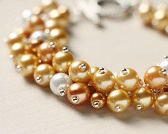 Bridesmaids Jewelry Pearl Cluster Bracelet - Fields of Gold, Yellow Wedding
