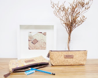 Cork Pencil case / Cosmetic bag / Travel pouch