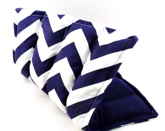 Microwave Heating Pad, Medium Heat Pack, cramps, lower back, knee, Hot Cold Pack, Microwavable Flax Heat Pad, navy chevron