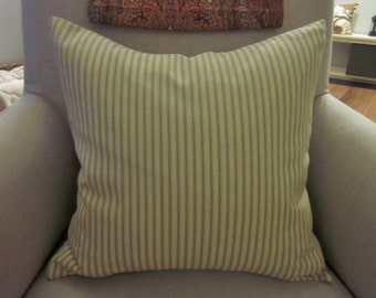 Green Ticking Pillow Cover, Green and Tan, Various Sizes, Farmhouse, Rustic Decor