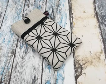IPhone 6, 7 and 8 pocket for cell phone glasses case, linen fabric cover smartphone case iPhone case, linen