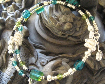 Beaded Memory Wire Bracelet Multi Strand Turquoise and Lime Wrapped Bracelet
