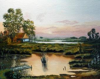 Rural landscape Original Oil painting