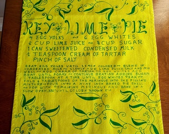 Rare mid century Key West Hand Print Key Lime Pie recipe tea towel designed by Vanda Pell