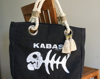 K sac gris foncé avec doublure de conception et de la sérigraphie