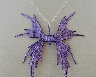 Fairy Wing Pendant-Purple Glow-With Silver Chain-18 inch (Made to Order by Request)