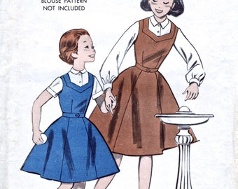 Butterick 565 - Unused Factory Folds - Girls' Dress Pattern - School Tunic - 1950's Vintage Sewing Pattern - Bust 34""
