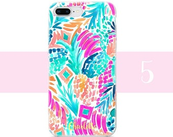 Lilly Pulitzer style iphone case- iPhone X - iPhone 8 Plus - iPhone 8 - iPhone 7 Plus - iPhone 7 - iPhone 6s-  flower iPhone case