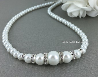 Bridal Necklace Bridesmaid Gift Pearl Jewelry Gift for Her Strand Necklace Classic Pearl Necklace Maid of Honor Gift for Bride Jewelry