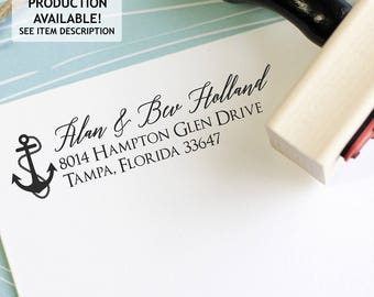 Anchor return address stamp for a beach house - Nautical self inking or wood block return address stamp - Personalized