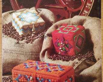 Designs For Needlepoint Boxes, (1976) Leisure Arts Pattern Leaflet #83