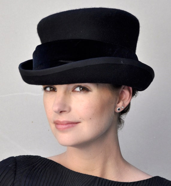 Formal Black Hat, Ladies Black Winter Hat, Funeral Hat, Black Winter Top Hat, Downton Abbey Hat, Victorian English Riding Hat
