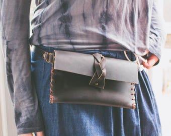 Leather Waist Pack, Boho Fanny Pack, Black Waist Bag , Womens utility belt