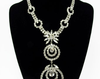 Unique Vintage Clear Rhinestone Necklace Prom Pageant