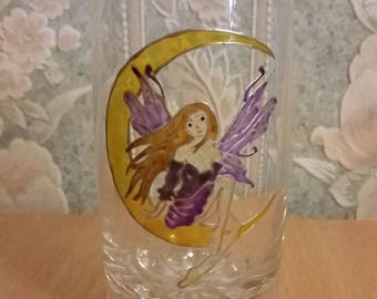 Painted water glass: purple fairy