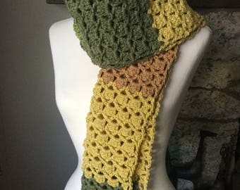 Color Block Scarf, Handmade, Crochet, Fall Colors, Made in CA, Outerwear, Neck Warmer