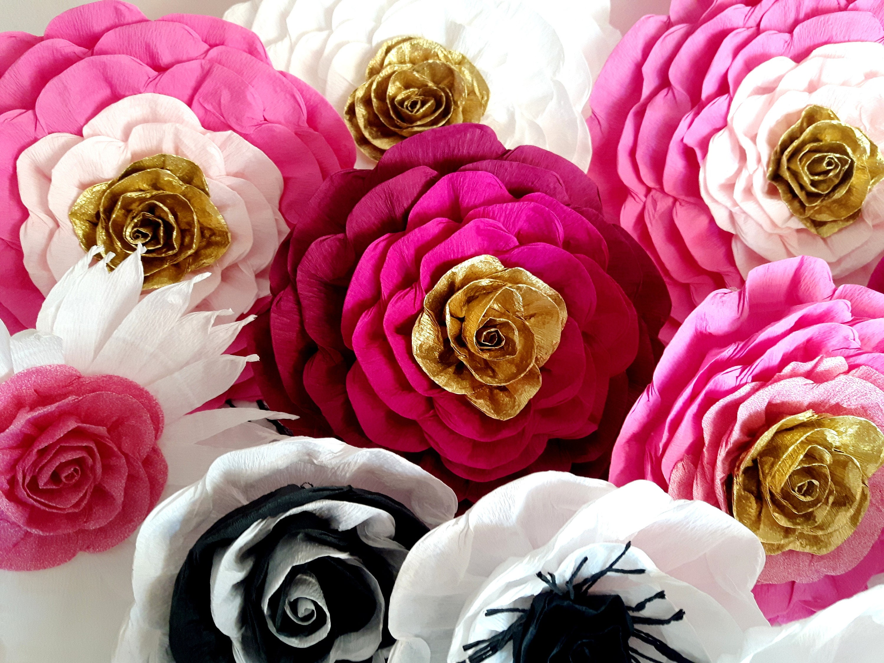 911f781c5e44 10 large Paper Flowers Giant hot Pink Gold wall decor bridal kate baby  shower spade wedding Sweet 16 Princess Photo Backdrop Birthday Party