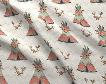 Antler and Tipi Floral Fabric - Teepees In Ikat Chevron By Willowlanetextiles - Boho Baby Nursery Cotton Fabric By The Yard With Spoonflower