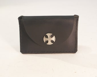 Small Wallet Germanic Cross, Black Saddle Leather