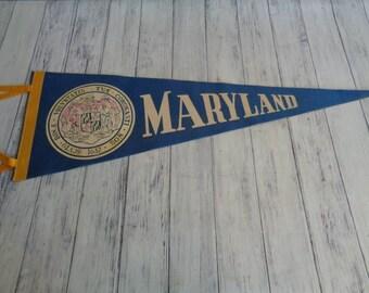 Vintage Travel Pennant Maryland Souvenir, Blue and White Felt Travel Vacation Souvenir Pennant, 1960s Era Travel Souvenir