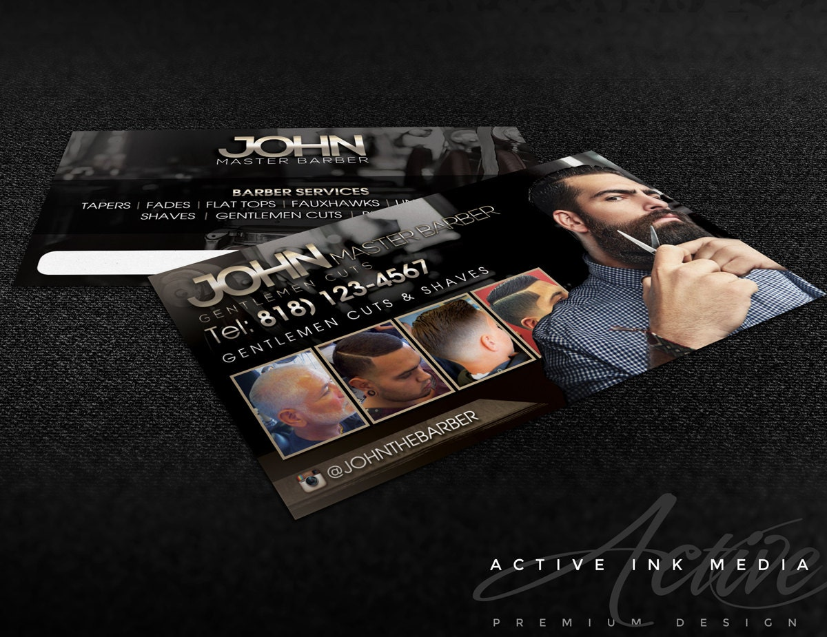 business card design barber business card salon stylist