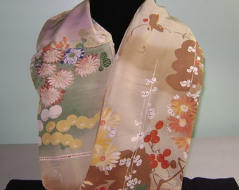 Patchwork Boro Silk Infinity Fall Scarf with Light and Dark Brown, Tan, and Cream Floral Patterns