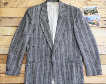Men's 40R Special Reserve Brand Vintage Black Gray Wool Polyester Blend Boucle Suit Jacket Sport Coat Canada