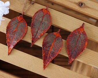 Copper Evergreen Leaf Necklace, Real Leaf Necklace, Evergreen Leaf, Rose Gold Leaf Necklace, Long Leaf, Leaf Pendant LC209