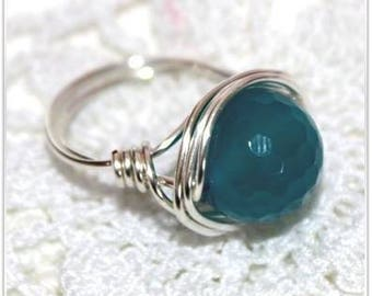 Blue agatte faceted ring